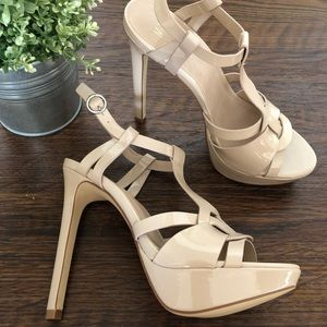 Nude Strappy Platform Heels